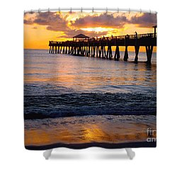 Juno Beach Pier Shower Curtain by Carey Chen