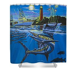 Jupiter Boat Parade Shower Curtain by Carey Chen