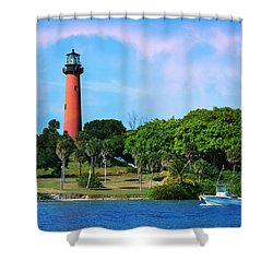 Jupiter Lighthouse Shower Curtain by Laura Fasulo