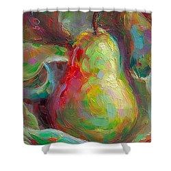 Just A Pear - Impressionist Still Life Shower Curtain