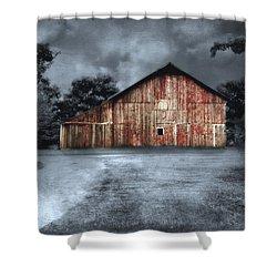 Night Time Barn Shower Curtain