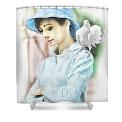 Just Audrey Shower Curtain by Mo T