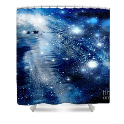 Shower Curtain featuring the digital art Just Beyond The Moon by Janice Westerberg