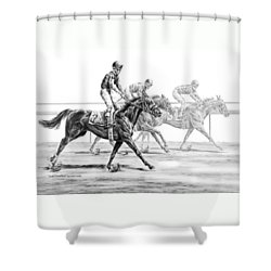 Just Finished - Horse Racing Print Shower Curtain