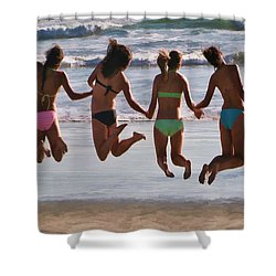 Just Jump Shower Curtain by Tammy Espino