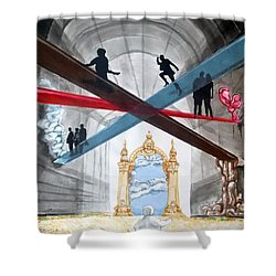 Shower Curtain featuring the painting Just Paths  by Lazaro Hurtado