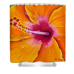 Just Peachy - Hibiscus Flower  Shower Curtain