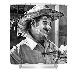 Just Shoot Me Said The Cowboy- Black And White Shower Curtain by Kathleen K Parker