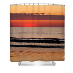 Just Showing Up Along Hampton Beach Shower Curtain by Eunice Miller