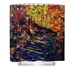 Shower Curtain featuring the painting Just The Sound Of The Forest... by Cristina Mihailescu