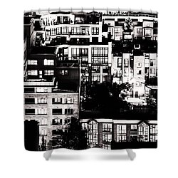 Shower Curtain featuring the photograph Black And White - Juxtaposed And Intimate Vancouver View At Night - Fineart Cards by Amyn Nasser