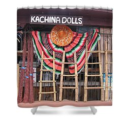 Shower Curtain featuring the photograph Kachina Dolls Local Store Front by Dora Sofia Caputo Photographic Art and Design