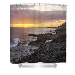 Kaena Point Sea Arch Sunset - Oahu Hawaii Shower Curtain by Brian Harig