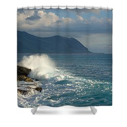 Kaena Point State Park Crashing Wave - Oahu Hawaii Shower Curtain by Brian Harig