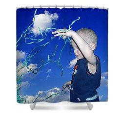 Kaleb Takes Over The World Shower Curtain by Verana Stark