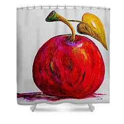 Shower Curtain featuring the painting Kaleidoscope Apple -- Or -- Apple For The Teacher  by Eloise Schneider