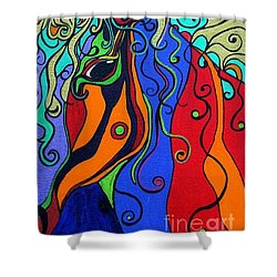 Shower Curtain featuring the painting Kaleidoscope Eyes by Alison Caltrider
