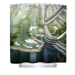 Shower Curtain featuring the digital art Kalpana One Golf Course by Bryan Versteeg