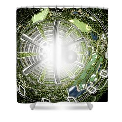 Shower Curtain featuring the digital art Kalpana One Space Station Section by Bryan Versteeg