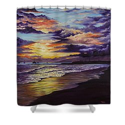 Shower Curtain featuring the painting Kamehameha Iki Park Sunset by Darice Machel McGuire
