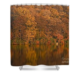 Kanawauke Lake Sundown Shower Curtain by Susan Candelario