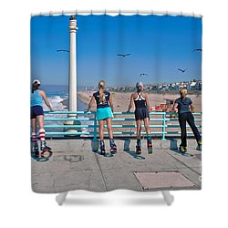 Kangaroo Shoes Girls And Birds Shower Curtain by David Zanzinger