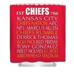 Shower Curtain featuring the digital art Kansas City Chiefs by Jaime Friedman