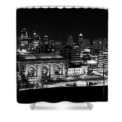 Kansas City In Black And White Shower Curtain