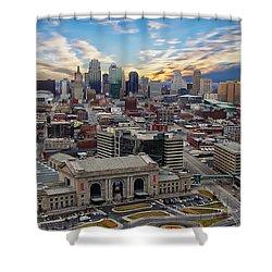 Kansas City Skyline Shower Curtain by Anthony Dezenzio