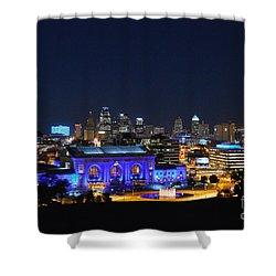 Kansas City Union Station In Blue  Shower Curtain