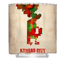 Kansas City Watercolor Map Shower Curtain