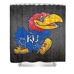 Kansas Jayhawks College Sports Team Retro Vintage Recycled License Plate Art Shower Curtain by Design Turnpike