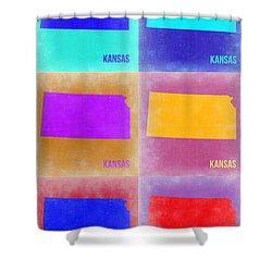 Kansas Pop Art Map 4 Shower Curtain