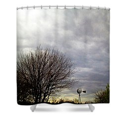 Kansas Prairie Windmill Shower Curtain