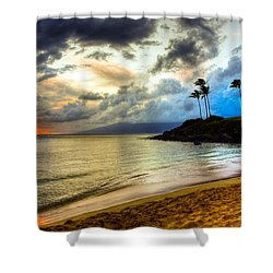 Kapalua Bay Sunset Shower Curtain by Kelly Wade