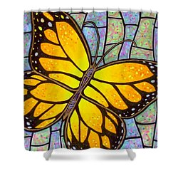 Shower Curtain featuring the painting Karens Butterfly by Jim Harris