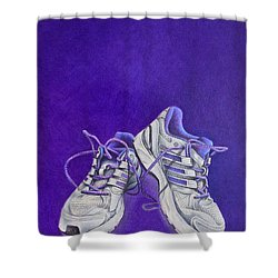 Shower Curtain featuring the painting Karen's Shoes by Pamela Clements