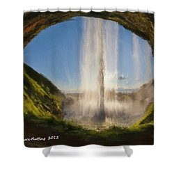 Shower Curtain featuring the painting Karen's Waterfalls by Bruce Nutting