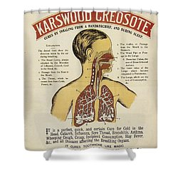 Shower Curtain featuring the photograph Karswood Creosote Medicine Vintage Ad by Gianfranco Weiss