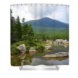 Katahdin Framed At Sandy Stream Pond Shower Curtain