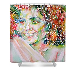Kathleen Battle - Watercolor Portrait Shower Curtain by Fabrizio Cassetta