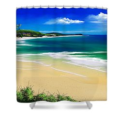 Shower Curtain featuring the digital art Kauai Beach Solitude by Anthony Fishburne