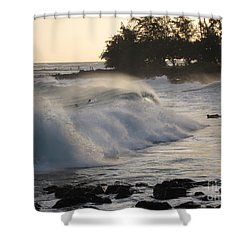 Kauai - Brenecke Beach Surf Shower Curtain by HEVi FineArt
