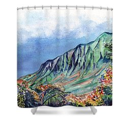 Kauai Kalalau Valley Shower Curtain by Marionette Taboniar