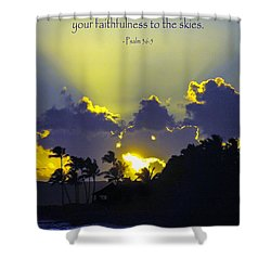 Kauai Sunset Psalm 36 5 Shower Curtain