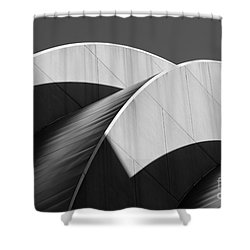 Kauffman Center Curves And Shadows Black And White Shower Curtain