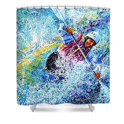 Shower Curtain featuring the painting Kayak Crush by Hanne Lore Koehler