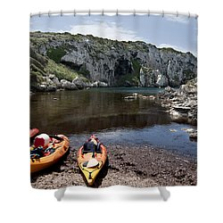 Kayak Time - The Landscape Of Cales Coves Menorca Is A Great Place For Peace And Sport Shower Curtain by Pedro Cardona Llambias
