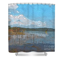 Kayaking At Lake Juliette Shower Curtain by Donna Brown