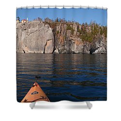 Shower Curtain featuring the photograph Kayaking Beneath The Light by James Peterson
